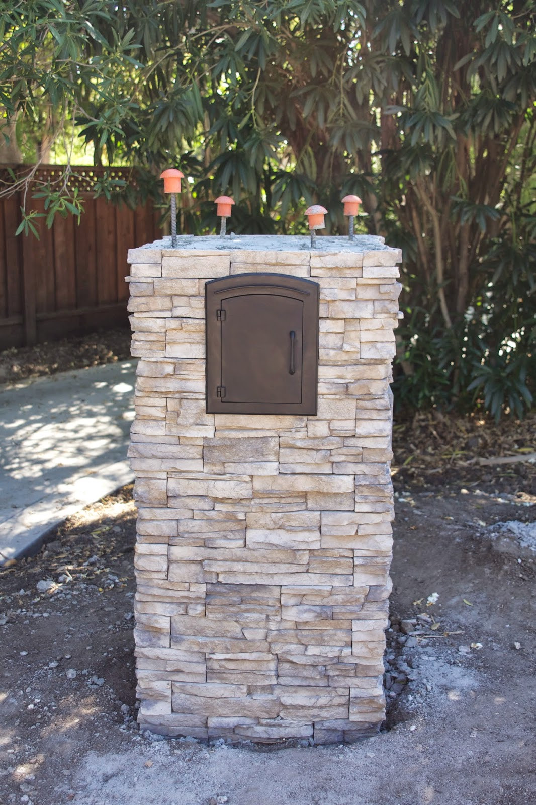 Stone Mailbox Pillars : Simply organized outdoor update stacked stone pillar