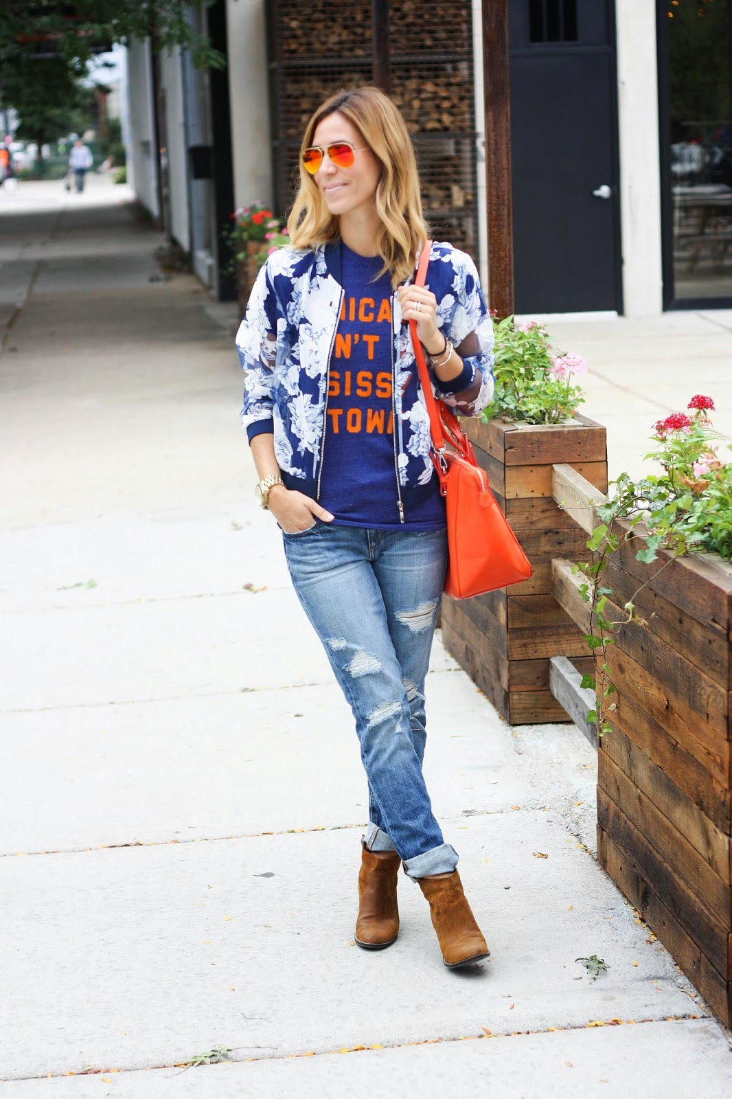 Chicago, Chicago Bears, Chicago Bears Football, Game-day, Game-day fashion, College Game Day, Flower Bomber jacket, bomber jacket, distressed denim, distressed boyfriend denim, joe's jeans distressed denim, dolce vita, dolce vita booties, mirrored sunglasses, mirrored ray-bans, red mirrored ray-bans