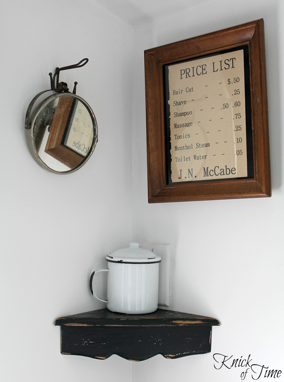 Barber Shop Decor : The barber sign and shelf displaying old barber scissors were made ...