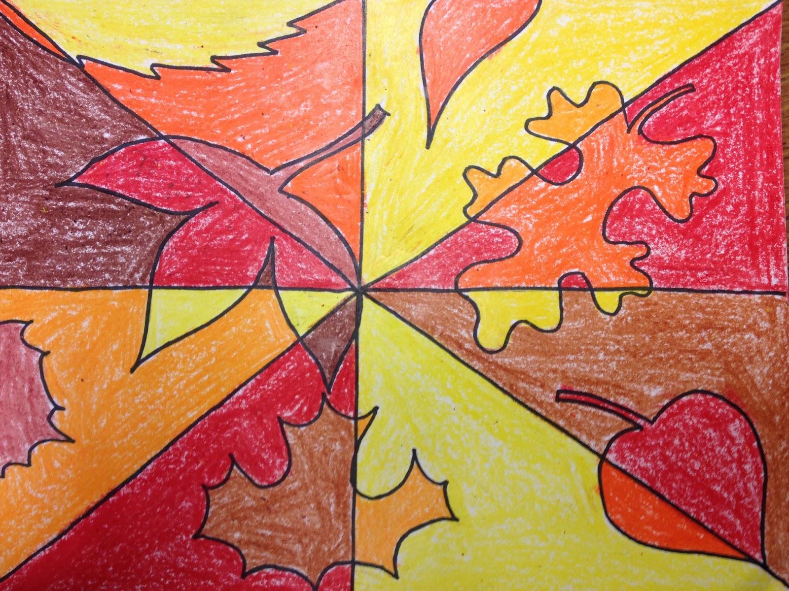 color me michelle 2nd grade cubist autumn leaves