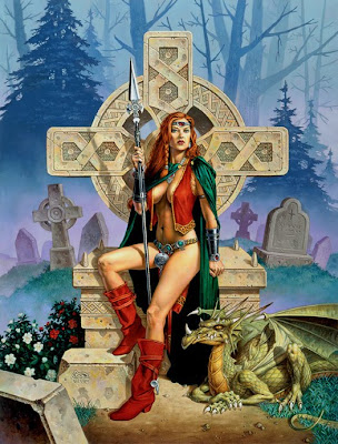 celtic warrior queen with cross dragon and grave stones