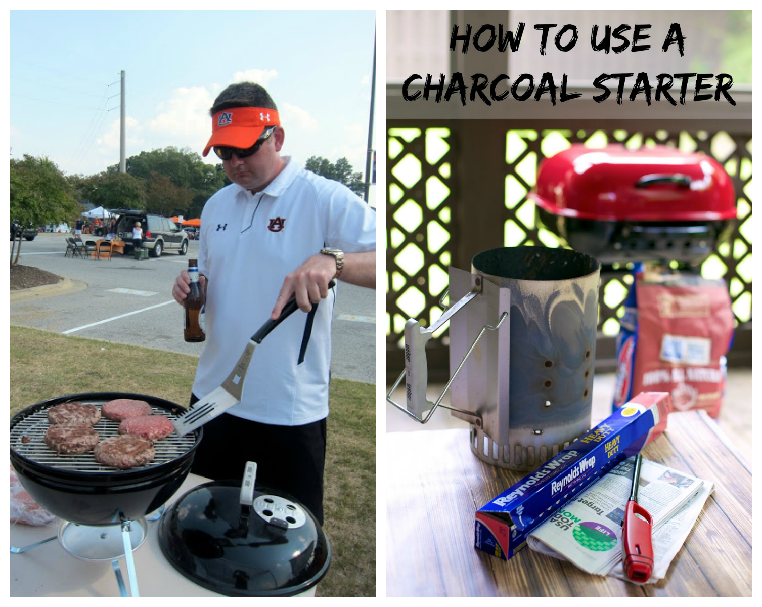 How to use a charcoal starter in the parking lot for tailgating.