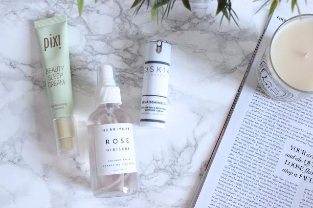 Pixi Beauty Sleep Cream, Herbivore Rose Hibiscus Coconut Water Hydrating face Mist, Oskia Renaissance 360 Ant-Ageing & Brightening Supreme Cream