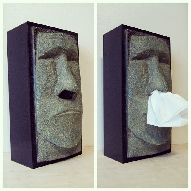 #thriftscorethursday Week 21 | Instagram user: feelingjennerous shows off this Easter Island Statue Tissue Box