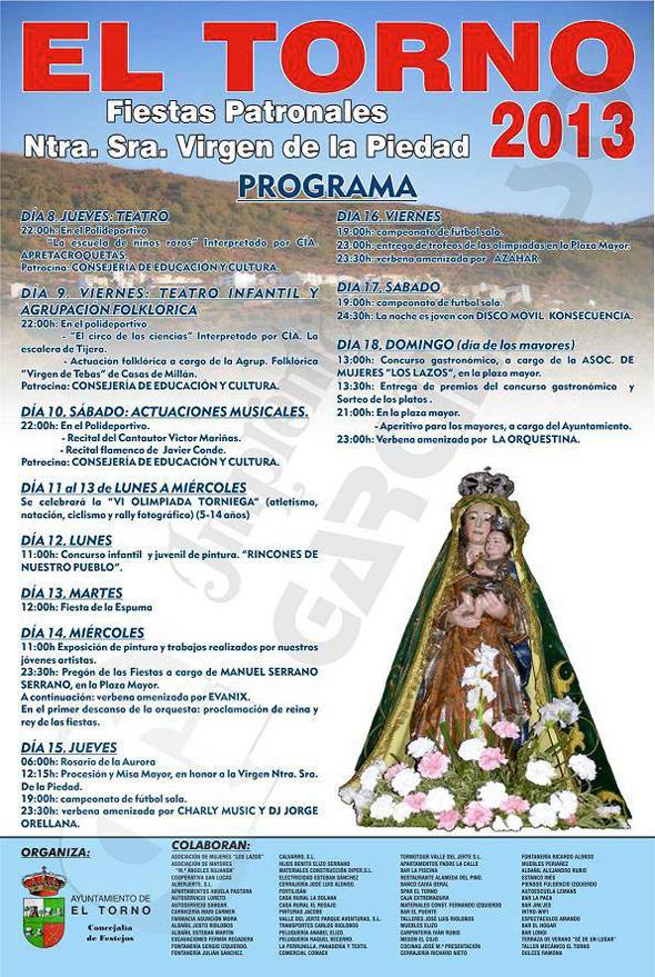 Cartel de las Fiestas de la Virgen de la Piedad en El Torno