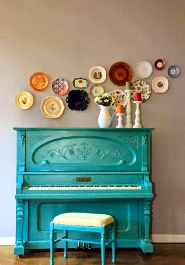 Ma Bicyclette: Home Interiors | How To Bring Summer Indoors - Turquoise Piano