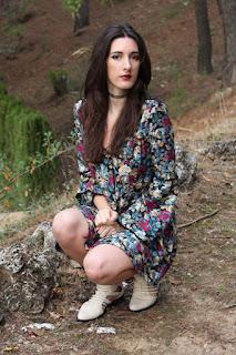 long sleeve flower dress, ancle booties
