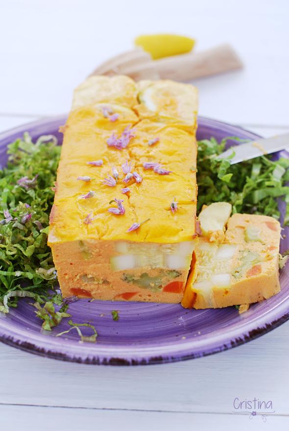 Pastel de brécol, zanahoria y calabacín