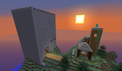minecraft_castle_house_sunset