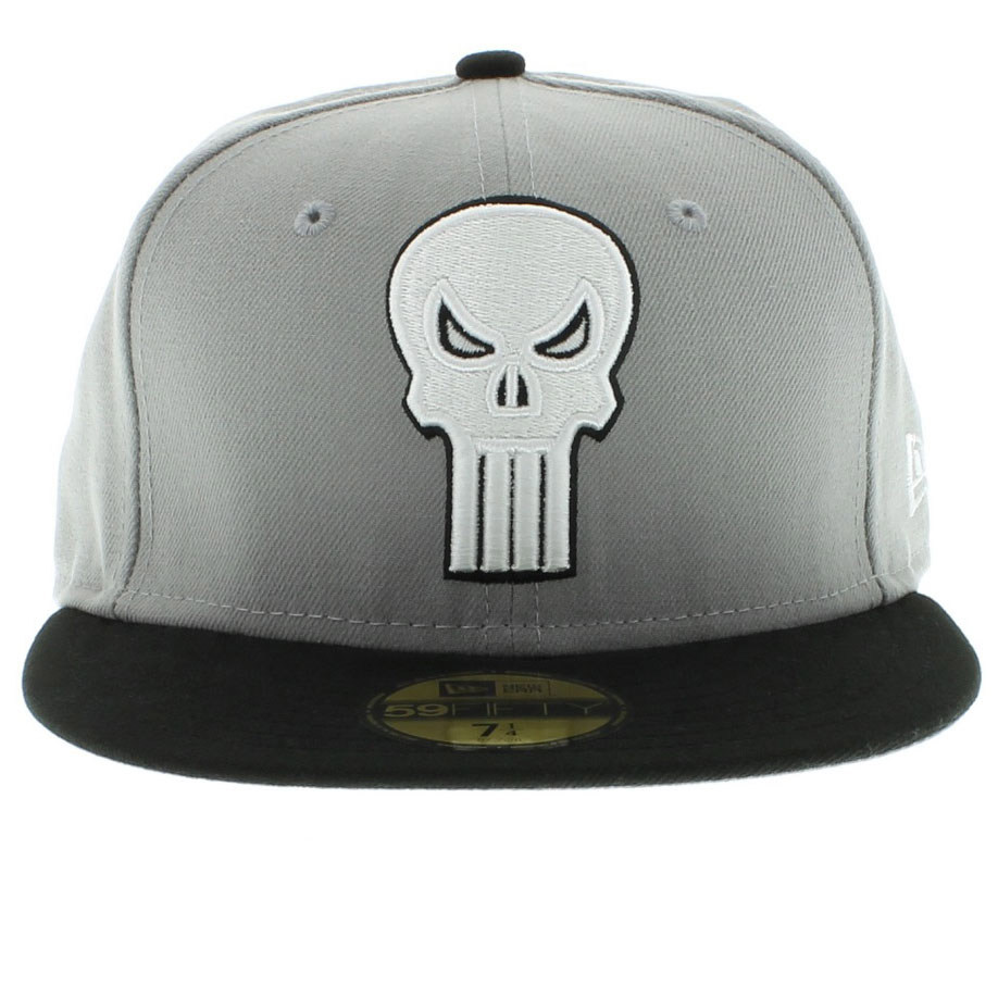 Boné New Era Justiceiro Punisher Cinza, Preto - Fitted