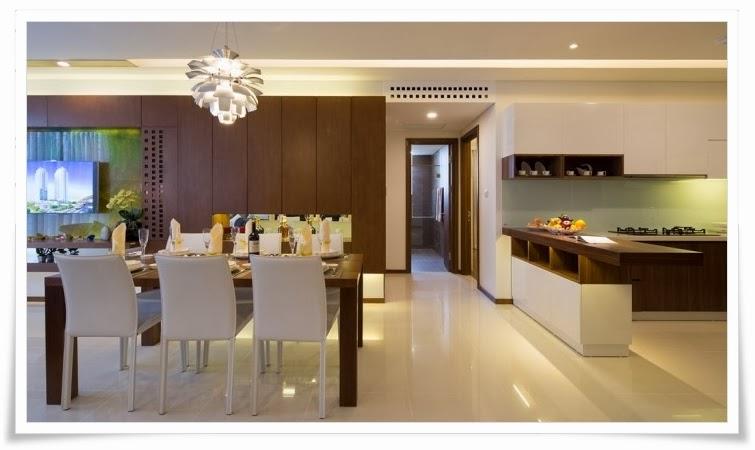 Phòng bếp căn hộ mẫu tại Thảo Điền Pearl