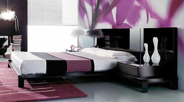 Desain interior ungu, rumah minimalis, warna ungu
