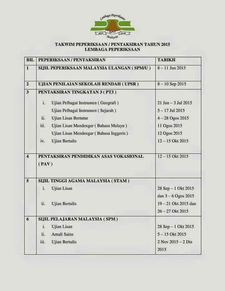 Jadual Peperiksaan UPSR, PT3, SPM dan STAM 2015