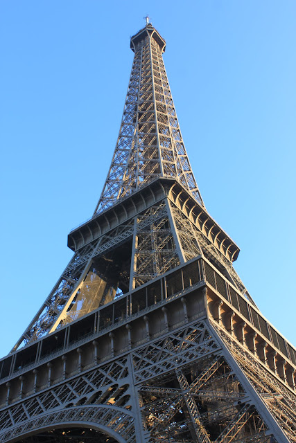 A close up look of the Eiffel Tower in Paris, France