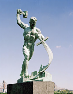 United Nations, statue, plough shares, swords, beat, hammer