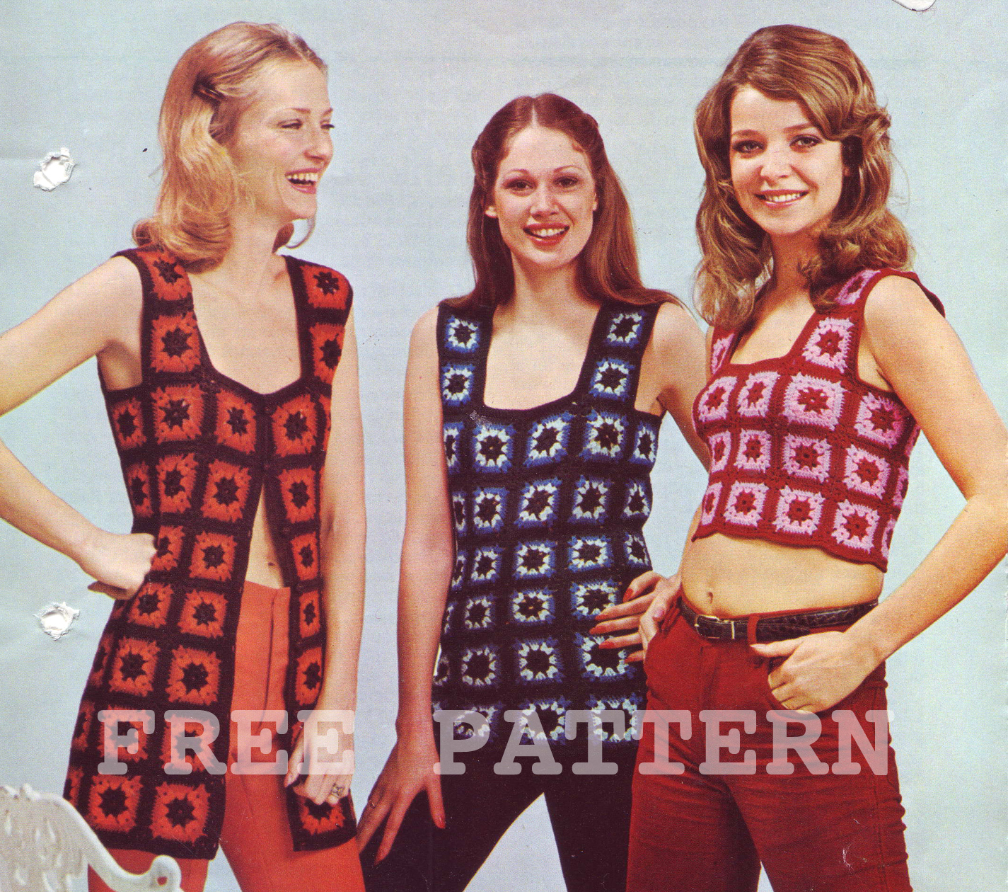The Vintage Pattern Files: 1970\'s Crochet - Granny Square Waistcoat