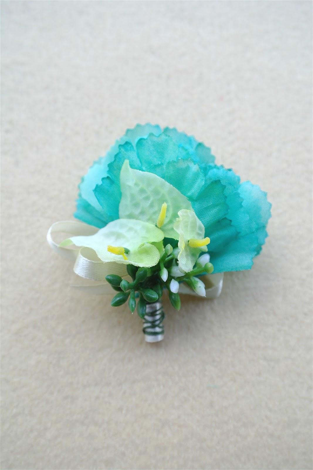 mint green flower men boutonniere corsage mg007