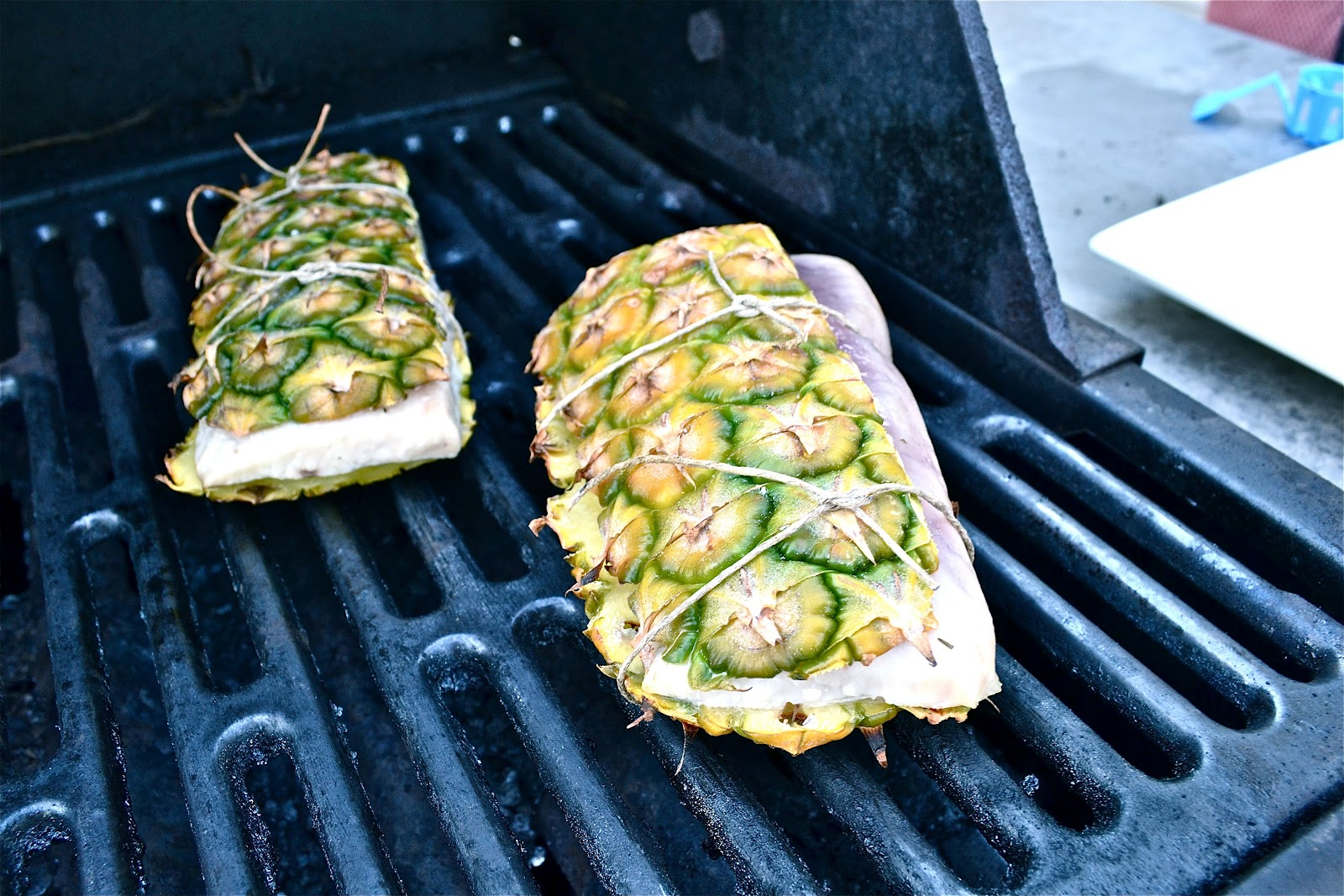 Grill fish on pineapple bark for The fish grill