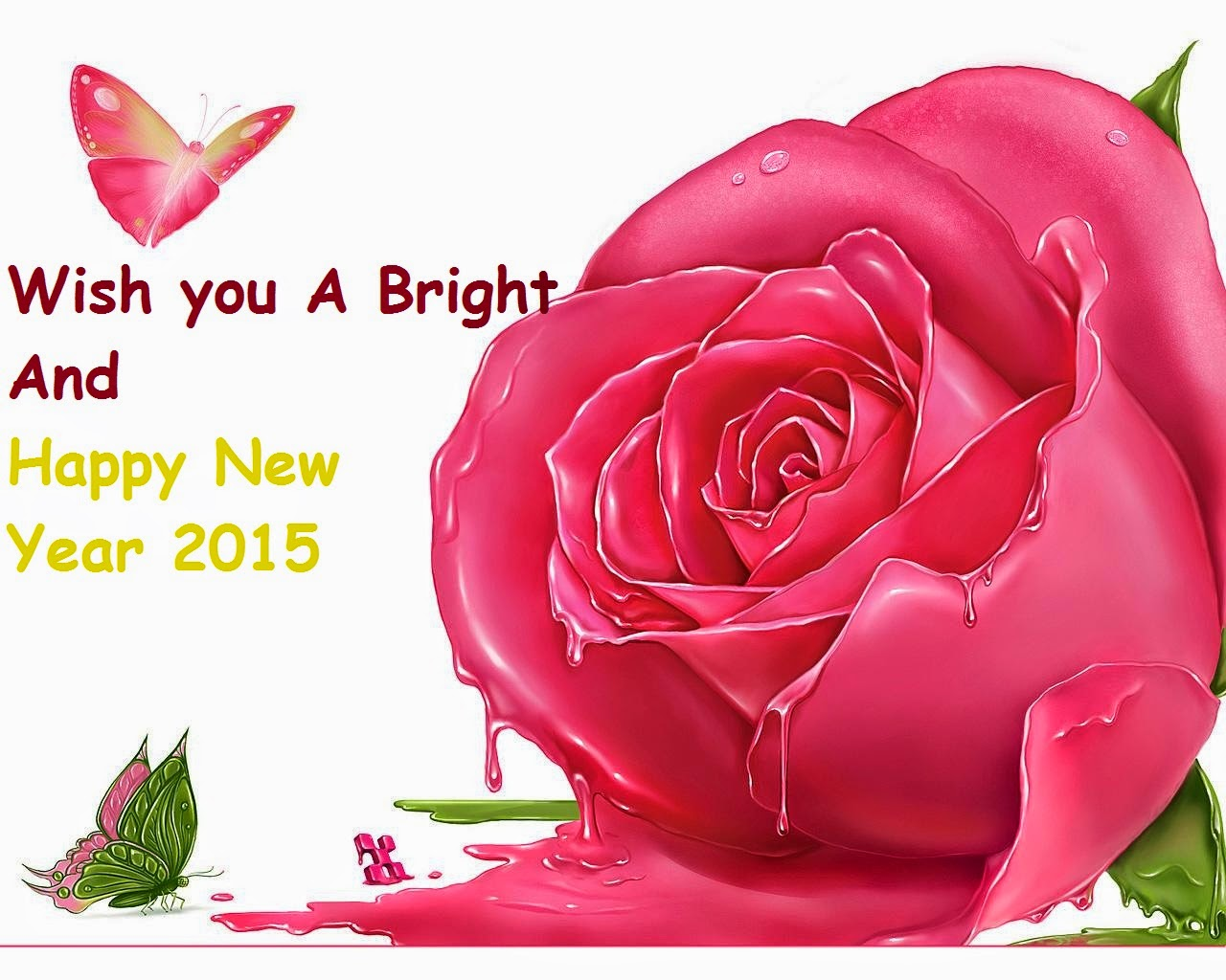 beautiful pink rose happy new year 2015 wallpaper