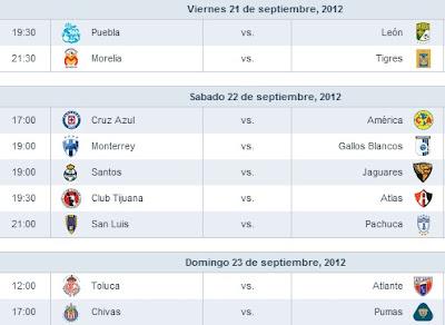 Jornada 9 Liga MX  apertura 2012