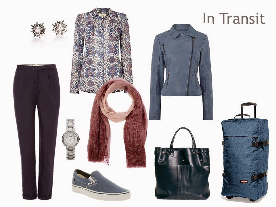 travel outfit in navy, with a blue faux suede jacket