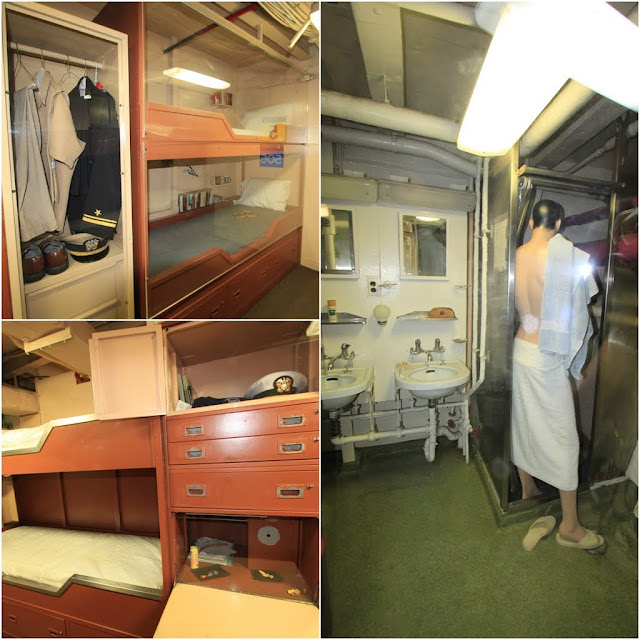 Spacious bunk beds with cabinets for high rank officers in the USS Midway Museum in San Diego, California, USA