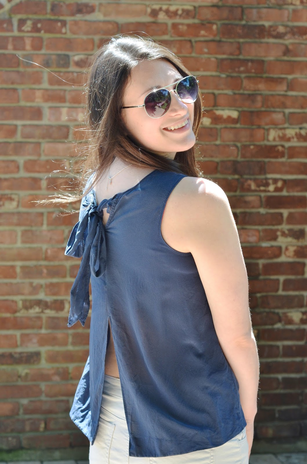 navy open back top