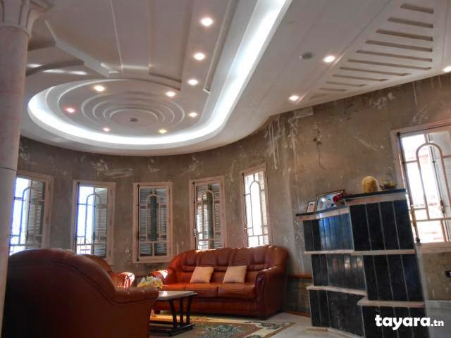 D coration plafond salon moderne for Plafond platre moderne pour salon