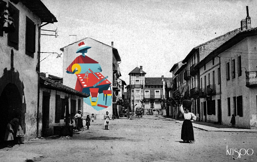 fotografia antigua de hondarribia retocada con mural