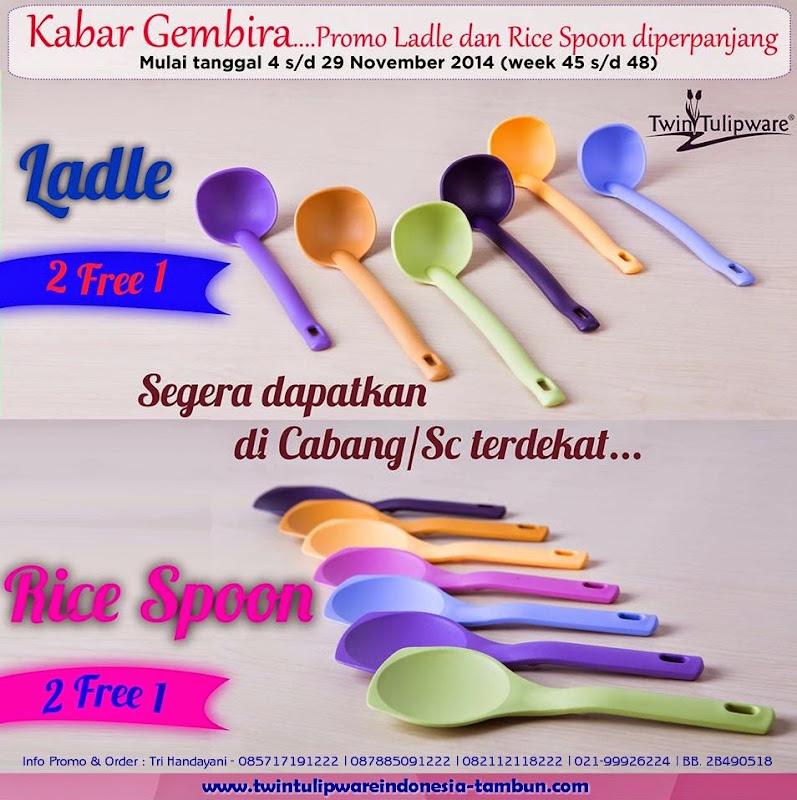 Ladle & Rice Spoon Tulipware Promo 2 Free 1 >> 4 - 29 November 2014, centong sendok sayur & nasi