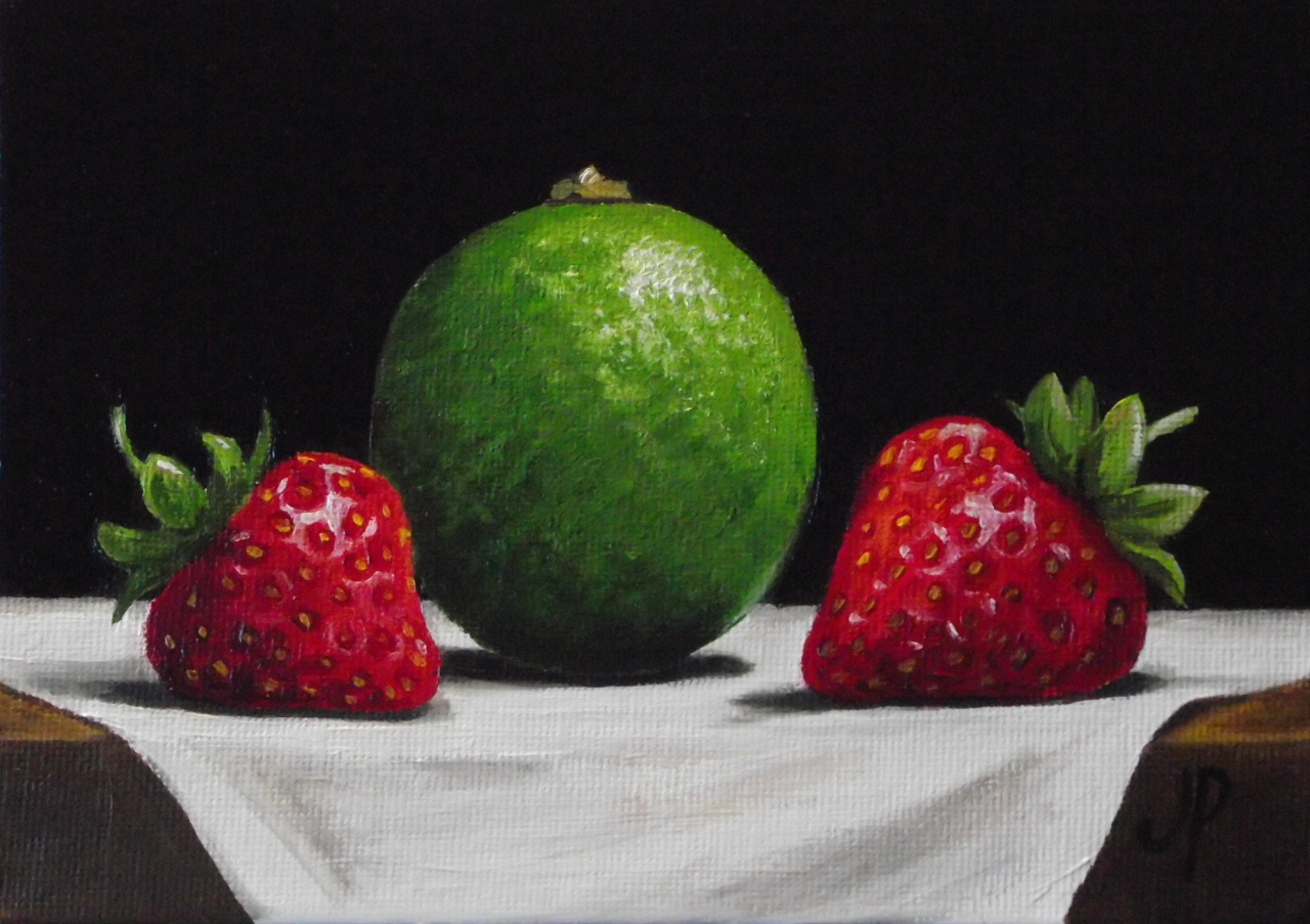 Dessin et peinture vid o 709 peindre l 39 huile une nature morte fraise et myrtille - Peinture facile a reproduire ...