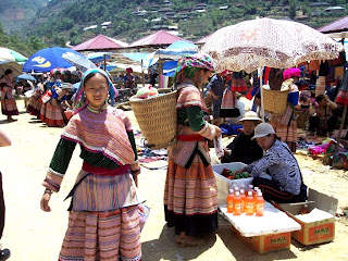 Sapa Market. Ethnic tribes of Vietnam selling