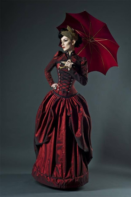 womens vicorian clothing red corset dress umbrella fascinator