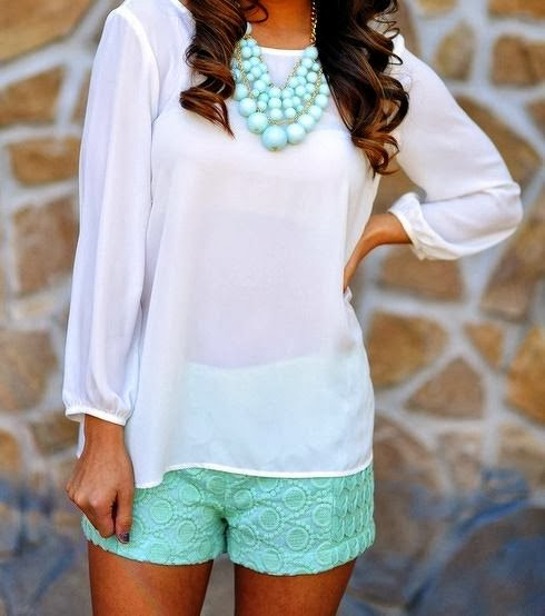 Mint green shorts and white shirt