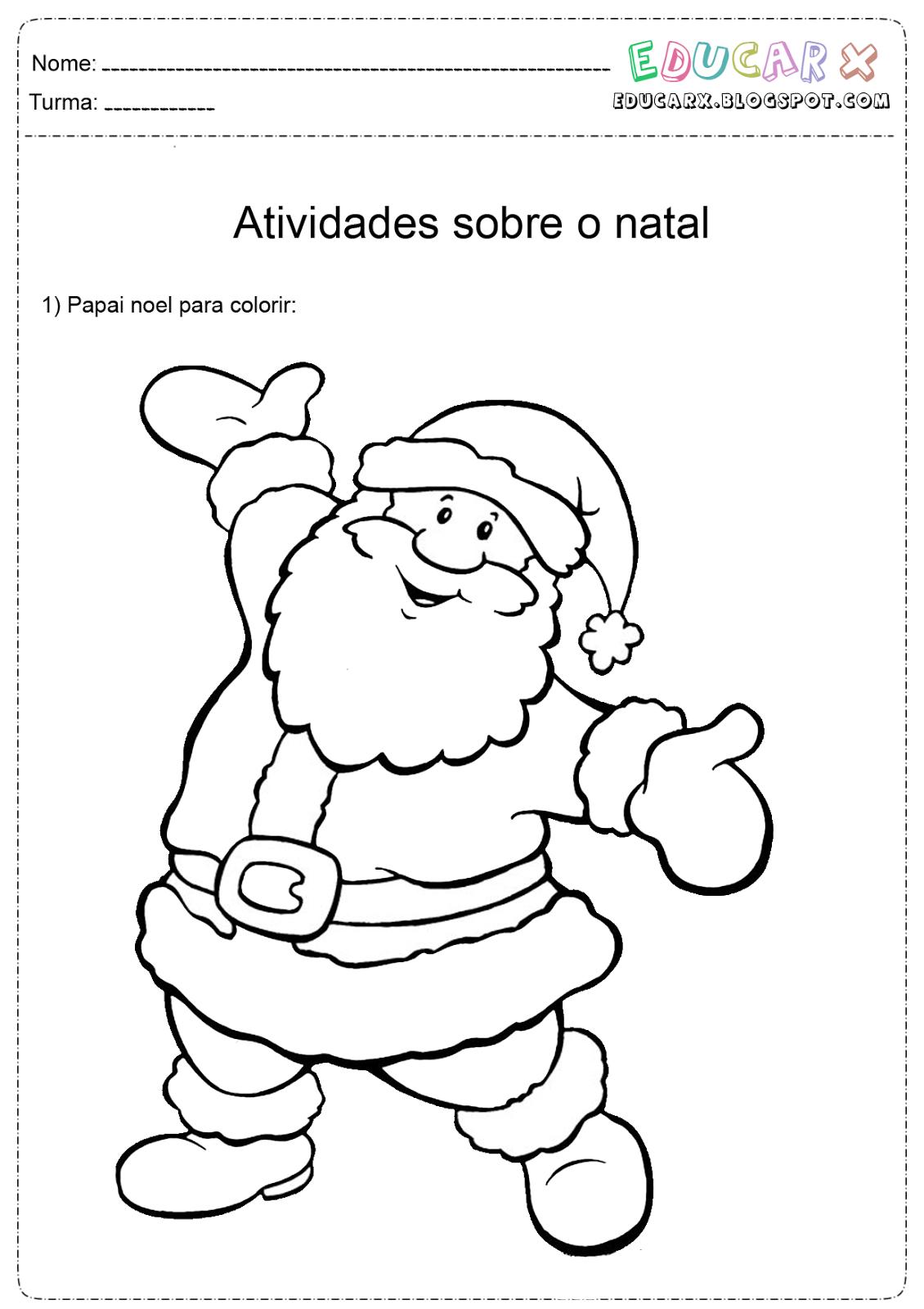 Atividades para colorir infantil 12 imagens do pai natal for Mural sobre o natal