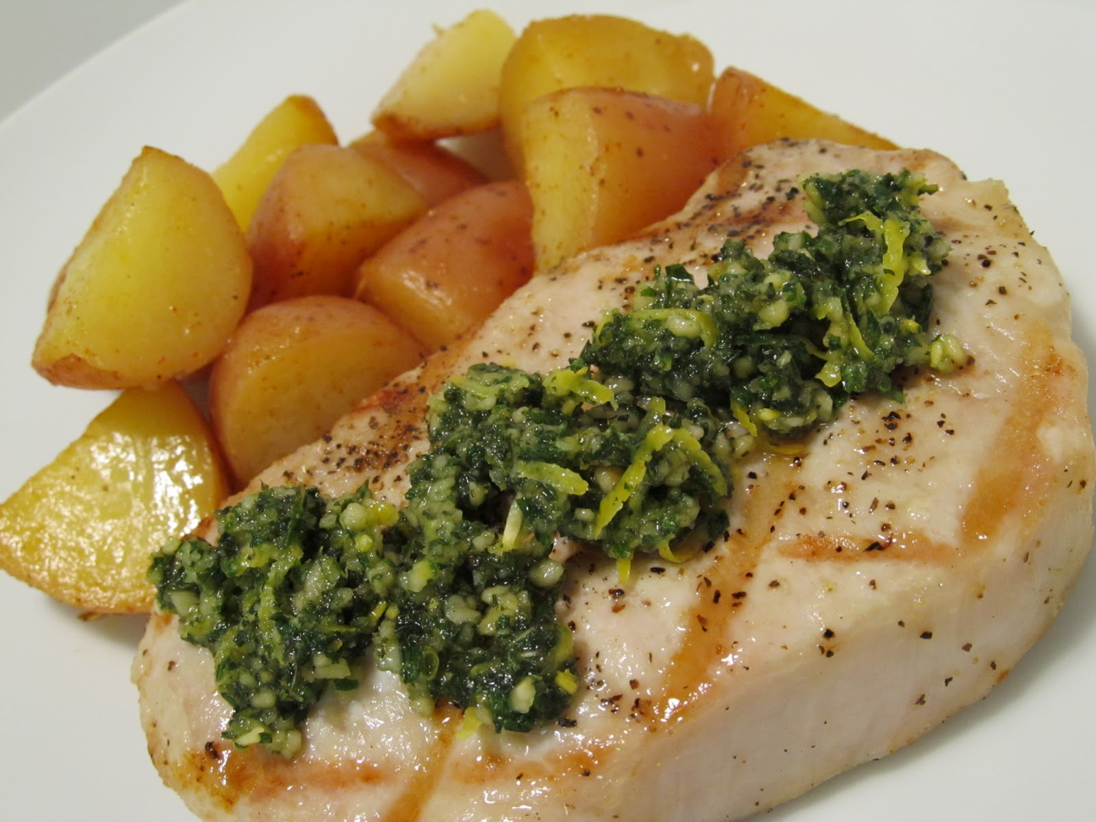... Food Journey: Grilled Pork Chops with Mint and Pine Nut Gremolata