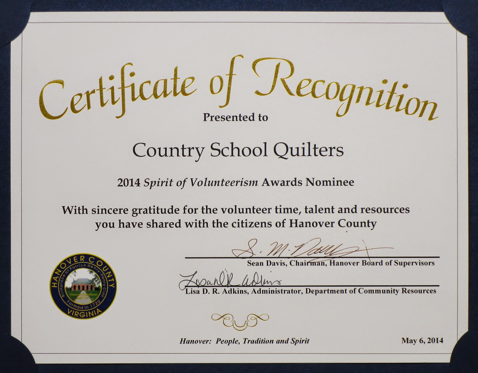 Country School Quilters Certificate Of Recognition
