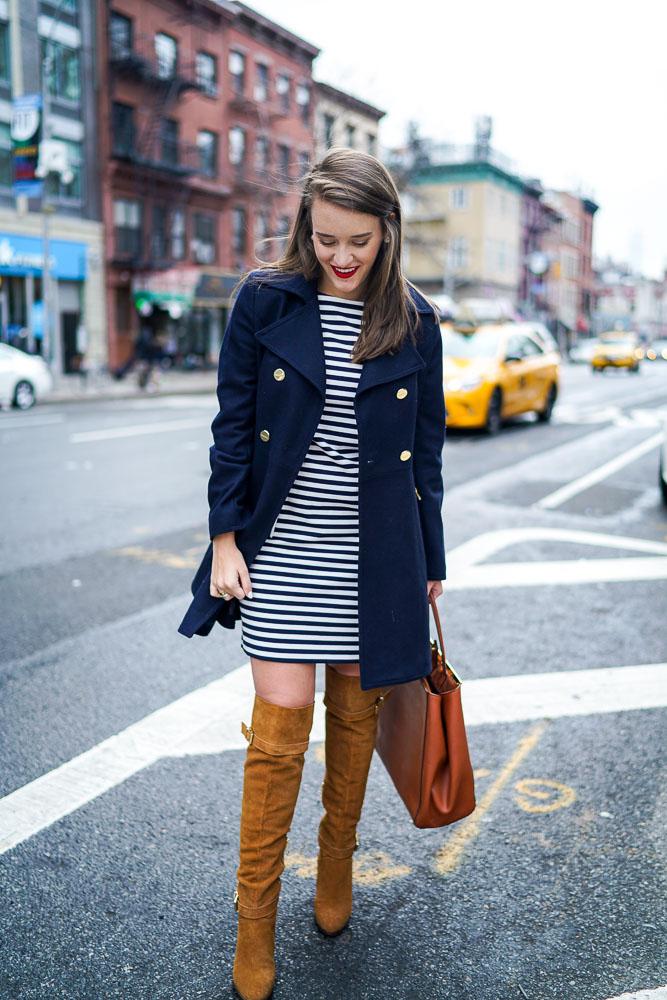 navy stripe dress, eliza j, stripe dress work