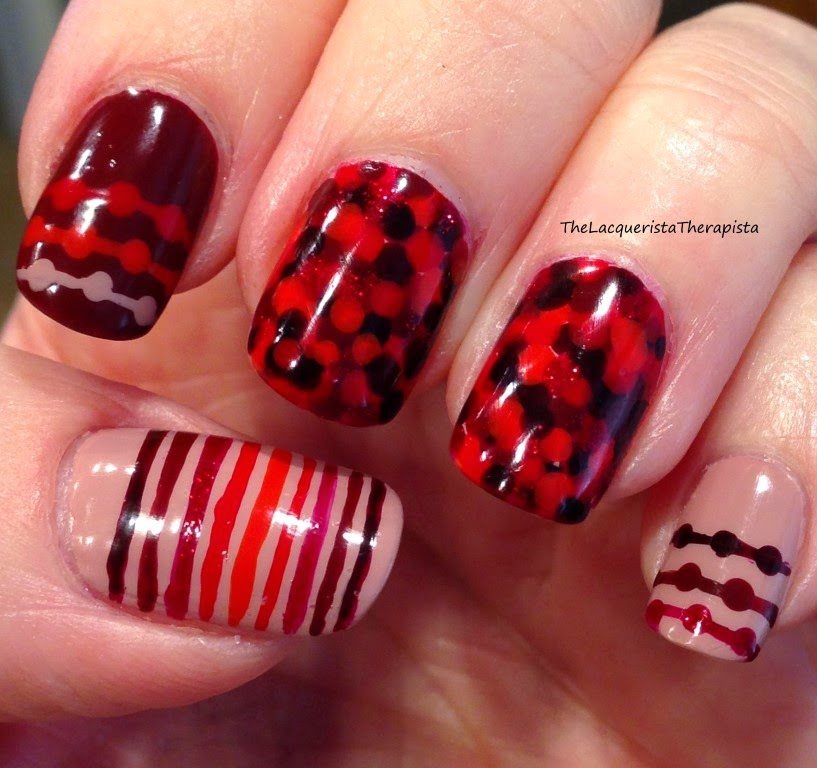 cranberries;Thanksgiving;nail art;dotticure;stripes;dots