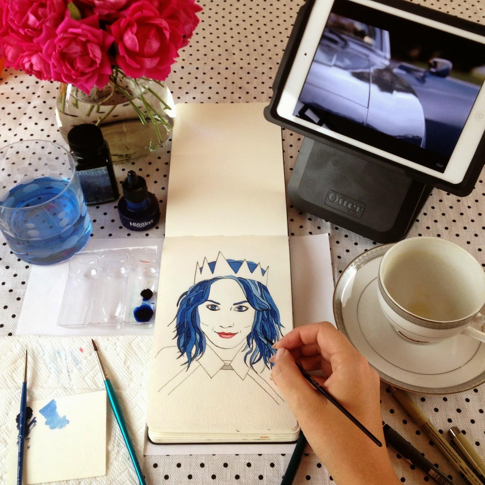 Inktober fashion illustration of Kelly Framel by Jessica Mack aka BrownPaperBunny