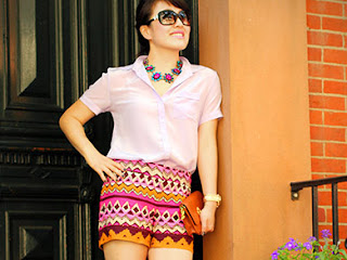 Silk Lavender Blouse Tribal Shorts