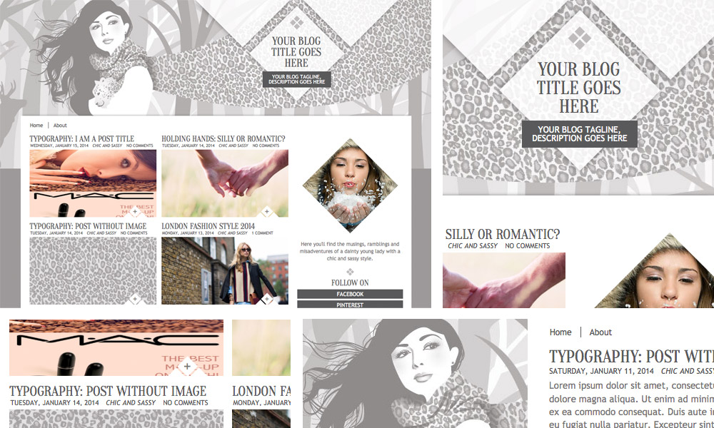 white winter chic blogger theme template layout