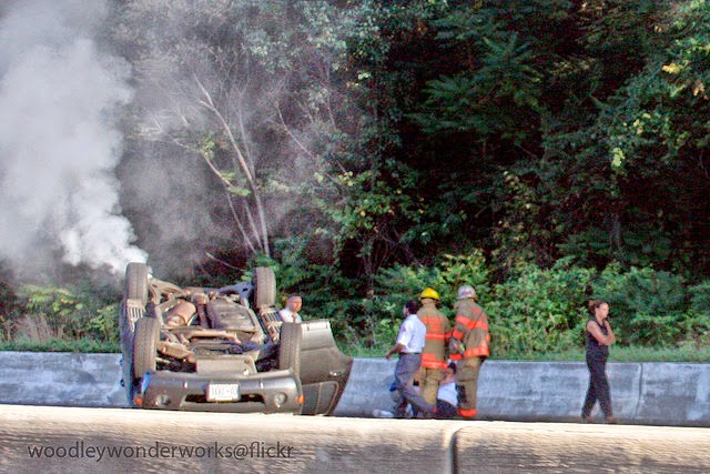 """Overturned Car on Capital Beltway [really bad day]"" by woodleywonderworks"