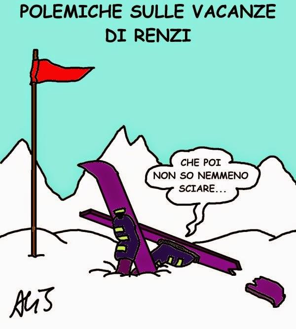 Renzi, voli di stato, vacanze, vignetta, satira