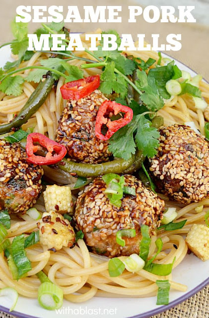 These Sesame Pork Meatballs are bursting with flavor and only takes a few minutes to make {make-ahead friendly recipe as well!} - serve on a busy weeknight for dinner, an appetizer or as a snack with a dipping sauce