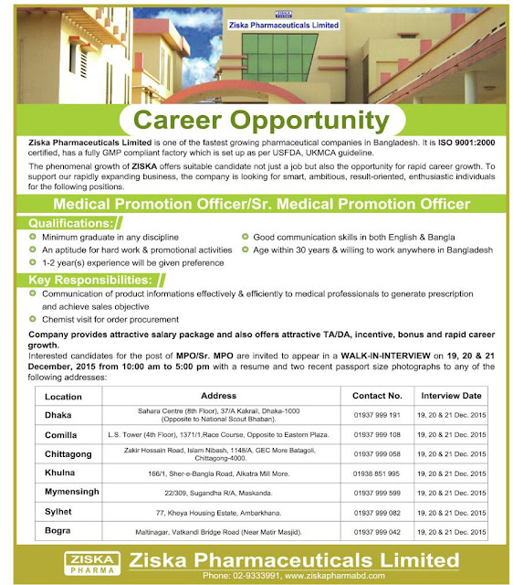Medical Promotion Officer and Senior Medical Promotion Officer  Company name: Ziska Pharmaceuticals Limited