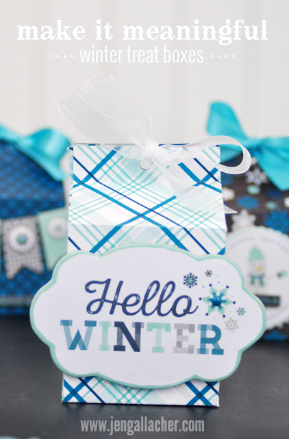 Hello Winter Milk Carton Treat Boxes designed by Jen Gallacher. Complete tutorial and supply list at www.jengallacher.com.