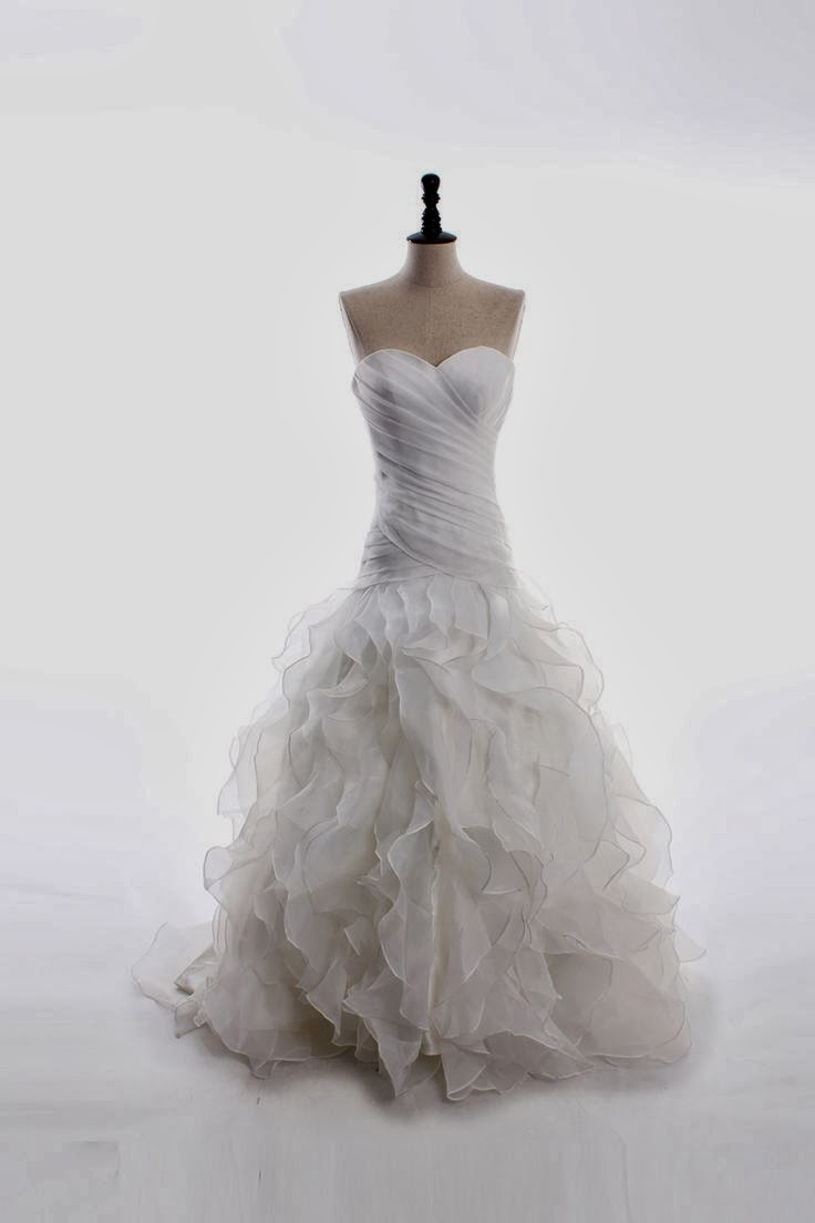 sweetheart neckline satin organza floor-length ruffled bottom wedding dress