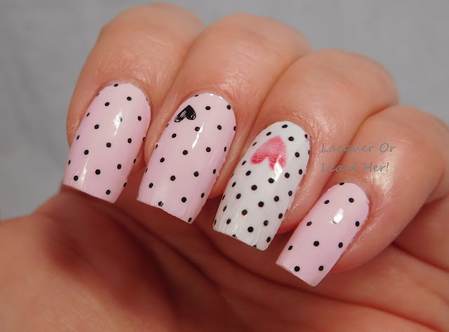 Incoco First Date full set + Be Mine accent nails