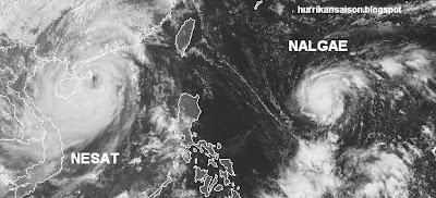 Taifun NESAT fast am Ziel (Hainan & Vietnam) - Tropischer Sturm NALGAE fast Taifun (Hurrikan) und unterwegs zu den Philippinen, Nalgae, Nesat, Satellitenbild Satellitenbilder, Taifun Typhoon, Taifunsaison, 2011, aktuell, Philippinen, Vietnam, Hainan, Verlauf,  Zugbahn, Vorhersage Forecast Prognose,